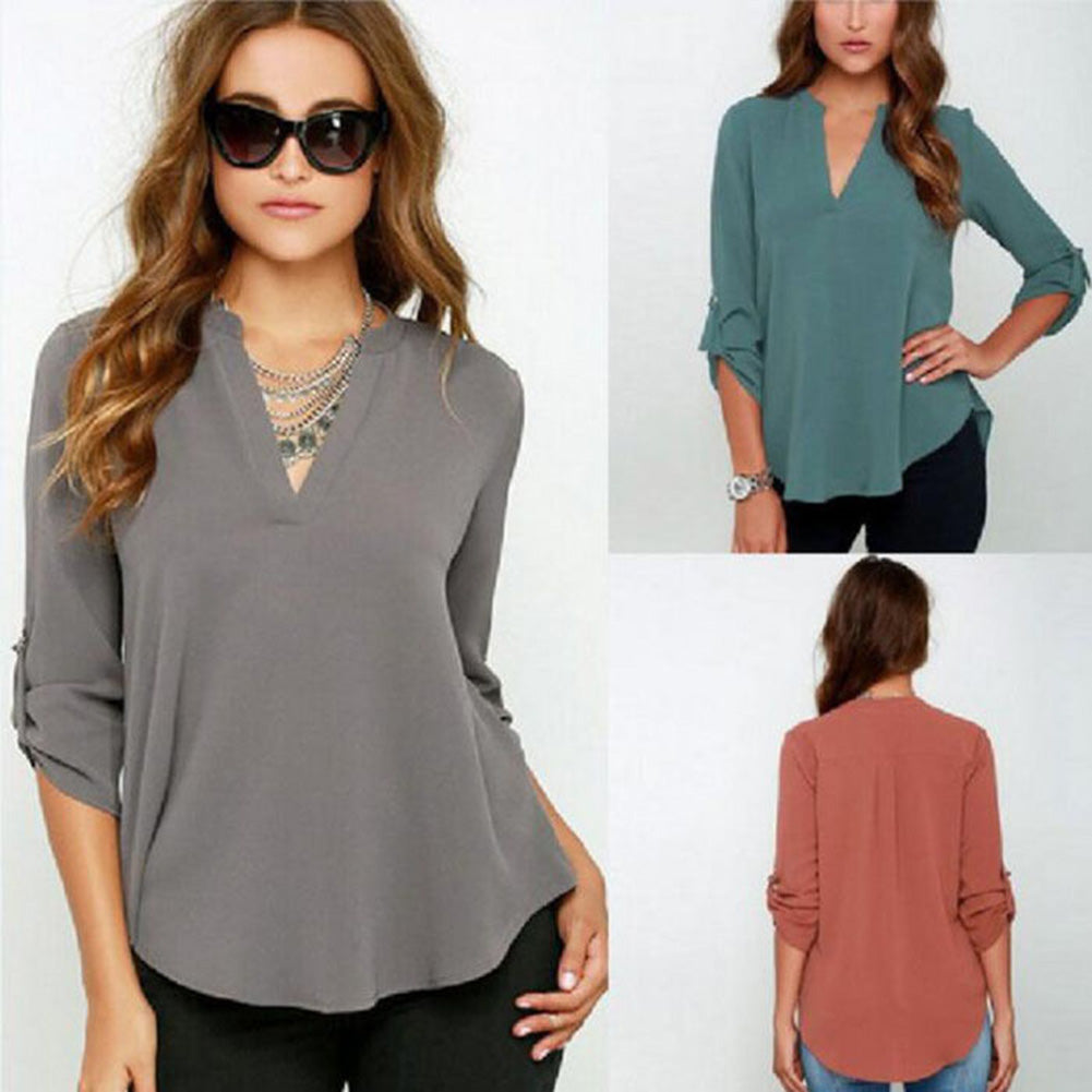 MilkySkinForever Fashion Women V-neck Solid Color Casual Loose Summer Chiffon Tops Shirt Blouse
