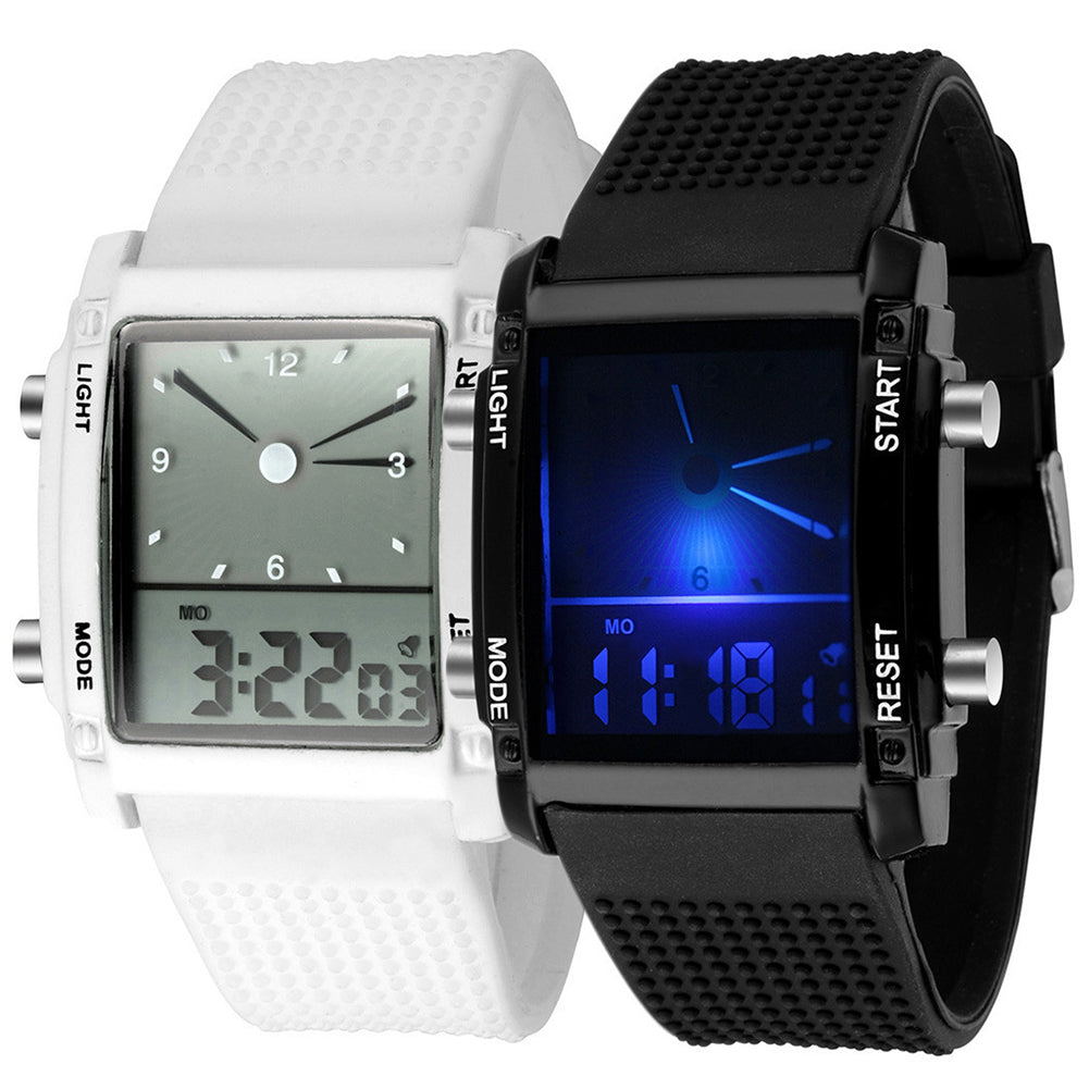 MilkySkinForever Men Square Dial Dual Time Day Display Alarm Colorful LED Sports Wrist Watch