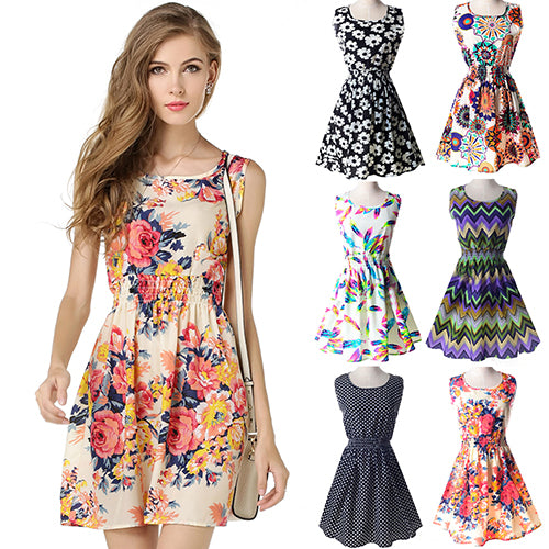 MilkySkinForever Women Sexy Casual Flower Print Sleeveless Skirt Summer Chiffon Beach Dress S-XXL