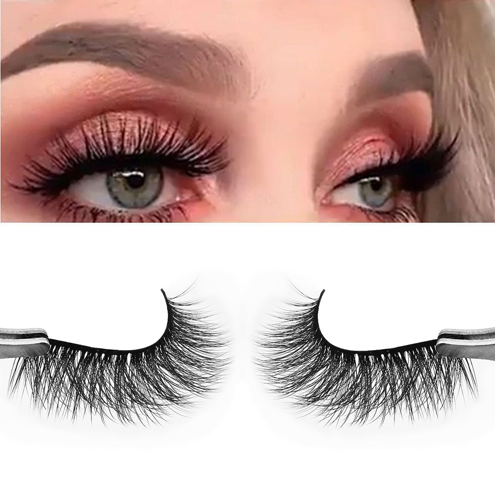 MilkySkinForever 3 Pairs Faux Mink Eyelashes Natural Long 3D Thick Full Strip False Lashes Makeup