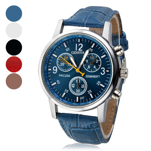 MilkySkinForever Men Women Fashion Faux Leather Band Quartz Analog Arabic Numerals Wrist Watch