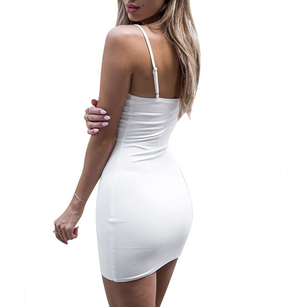MilkySkinForever Sexy Summer Women Front Tie Deep V Strappy Slim Fit Short Dress Party Costume