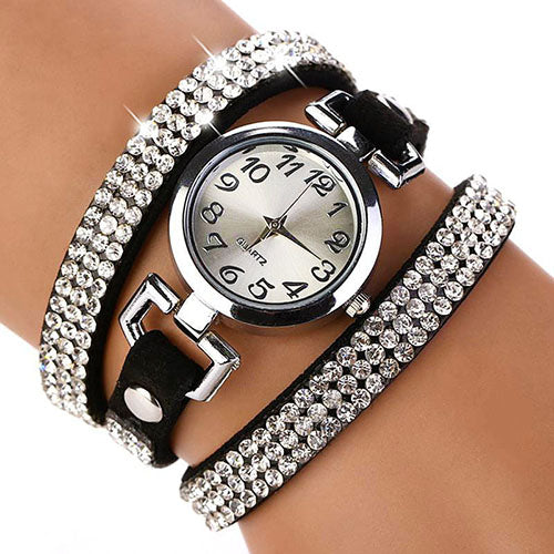 MilkySkinForever Lady's Rhinestone Faux Leather Multilayer Quartz Wrap Bracelet Dress Wrist Watch