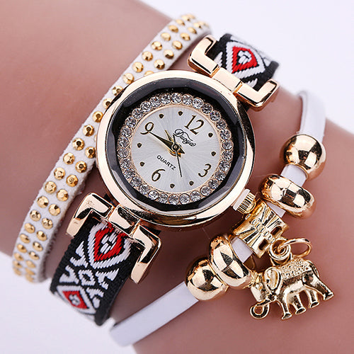 MilkySkinForever Women's Multilayer Vintage Knitted Elephant Pendant Rhinestone Bracelet Watch