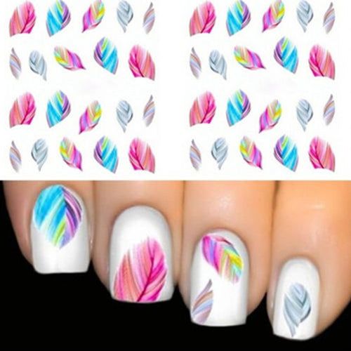 MilkySkinForever 5Pcs Fashion Multi-Color Feather Nail Art Water Transfer Sticker Manicure Decal