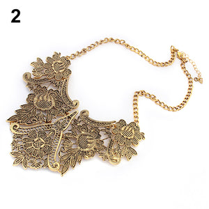 MilkySkinForever Vintage Silver Plated Flower Hollow Statement Bib Choker Chain Pendant Necklace