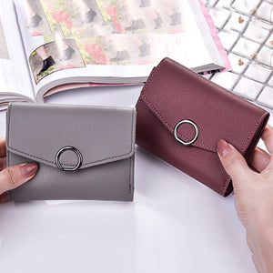 Women Trifold Short Wallet Circle Hasp Card Slots Plain Faux Leather Coin Purse