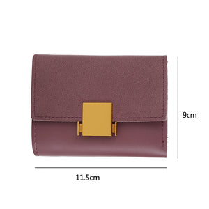 MilkySkinForever Fashion Women Button Faux Leather Wallet Card Holder Buckle Short Purse Gift