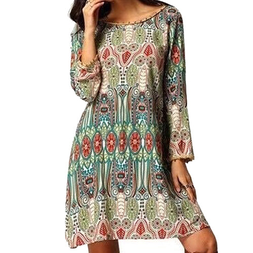 MilkySkinForever Women Vintage National Style Loose Long Sleeve Dress Multicolor Casual Dress