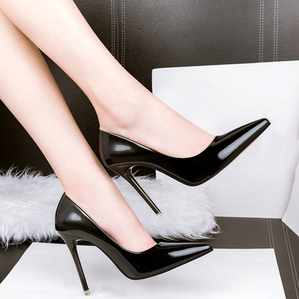 MilkySkinForever Fashion Elegant Faux Leather Pointed Toe High Heels Women OL Stiletto Shoes