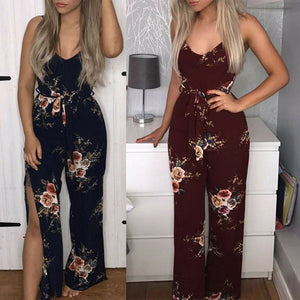 MilkySkinForever Women Sexy Long Pants Sleeveless Spaghetti Strap Jumpsuit Romper With Belt
