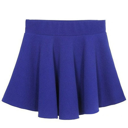MilkySkinForever Women's Fashion Candy Color Stretch Waist Pleated Plain Skater Flared Mini Skirt