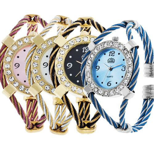 MilkySkinForever Women Lady Classic Rhinestone Quartz Wrist Watch Braided Bracelet Bangle Gift