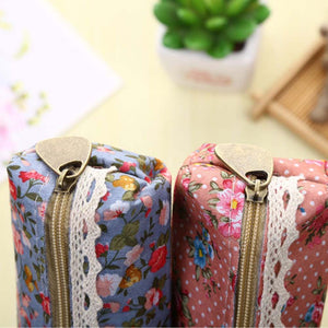 MilkySkinForever Elegant Flower Zipper Pencil Case Cosmetic Makeup Bag Students Stationary Gift