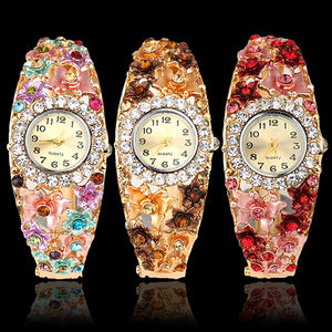 MilkySkinForever Women's Flower Butterfly Dress Watch Round Dial Rhinestone Bracelet Wristwatch