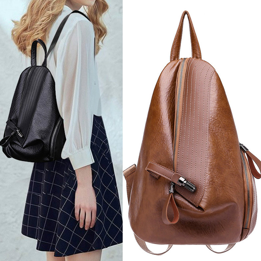MilkySkinForever Leisure Faux Leather Triangle Zipper Closure Women Backpack Shopping School Bag