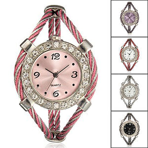 MilkySkinForever Shiny Rhinestone Quartz Twisted Rope Bracelet Opening Bangle Girl's Wrist Watch
