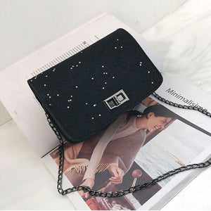 MilkySkinForever Women Fashion Sequins Single Chain Strap Crossbody Shoulder Messenger Flap Bags