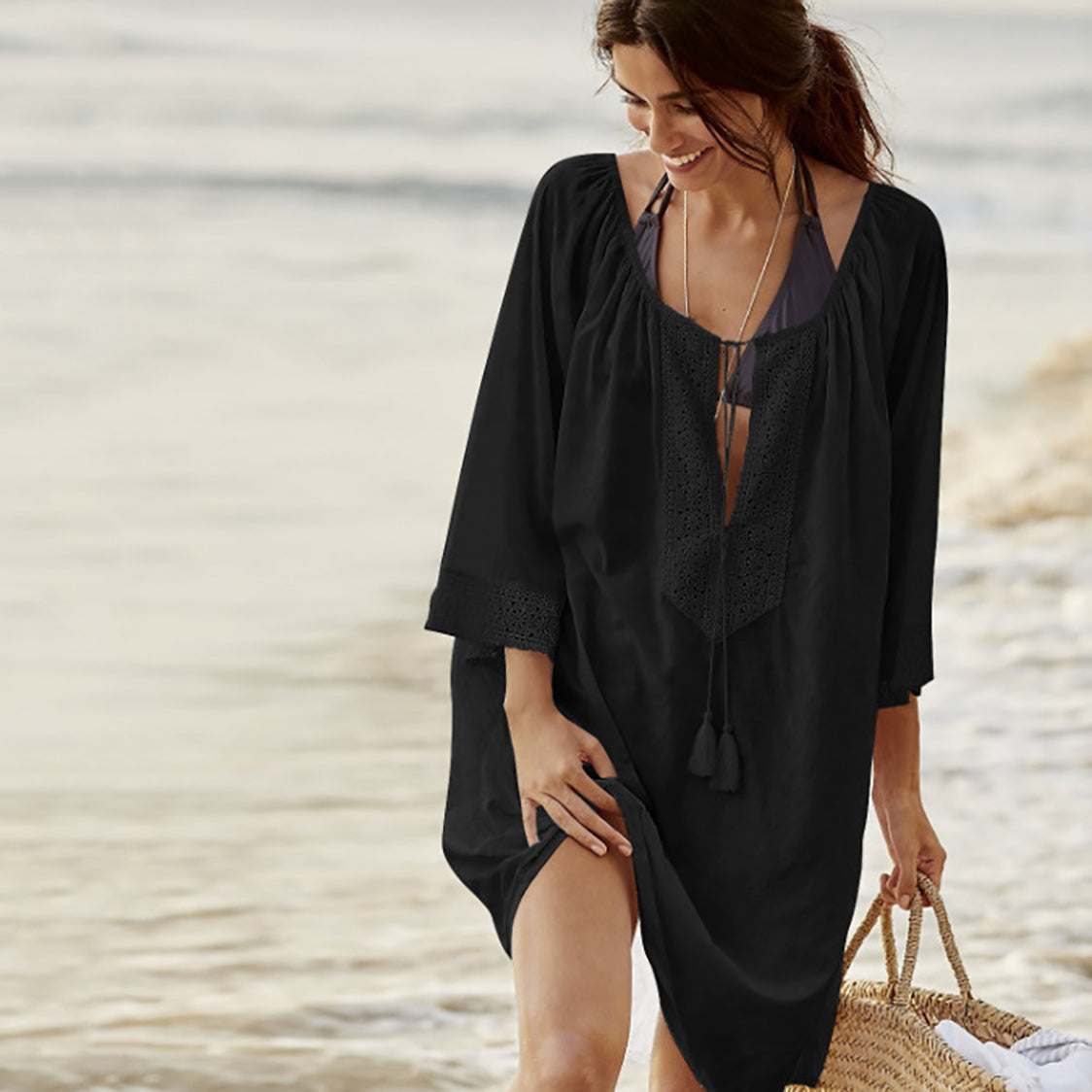 MilkySkinForever Women Swimsuit Sexy Tassel Kaftan Tunic Dress Summer Solid Color Beach Cover Up