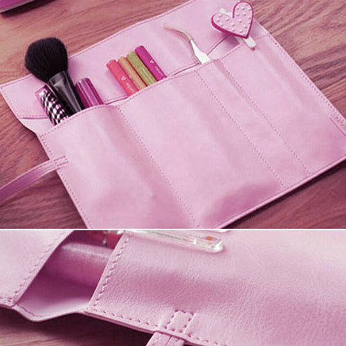 MilkySkinForever Vintage Faux Leather Makeup Cosmetic Brush Pen Pencil Case Organizer Pouch Bag