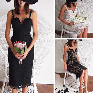 MilkySkinForever Women Fashion Summer Spaghetti Strap Bodycon Floral Lace Cocktail Party Dress