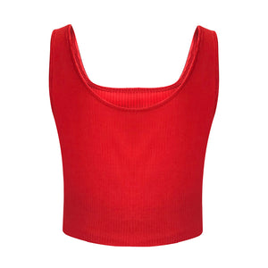 MilkySkinForever Women Casual Fitness Sexy Low-cut Crop Tops Sleeveless Vest Camisole Slim Fit