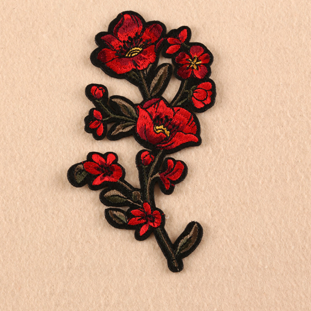 MilkySkinForever Rose Flower Sew Badge Iron on Embroidery Patches Bag Jeans Applique Set Craft