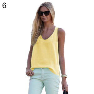MilkySkinForever Fashion Women Summer Sleeveless Solid Color Blouse Casual Chiffon Tank Top