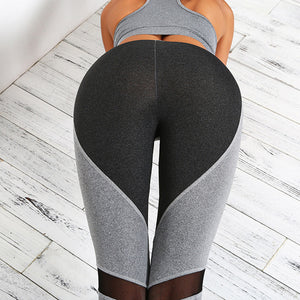 MilkySkinForever Women's Fashion Splice Tight Pants Heart shaped Gauze Yoga Pants Leggings