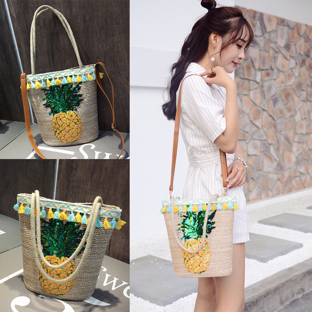 MilkySkinForever Casual Women Cotton Linen Pineapple Tassel Single Shoulder Beach Bucket Bag Gift