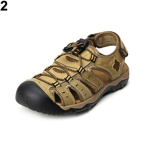 MilkySkinForever Men's Fashion Plus Size Sandals Summer Beach Outdoor Cattlehide Leather Shoes Slippers