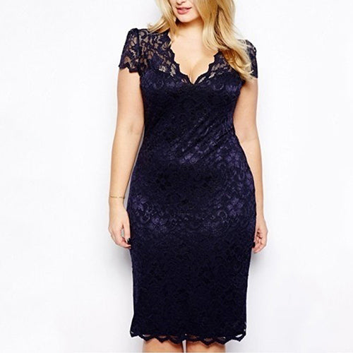 MilkySkinForever Sexy Women Lady V-Neck Floral Lace Bodycon Hollow Out Pencil Large Size Dress