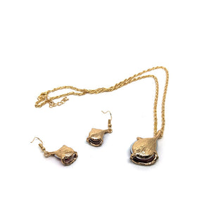 MilkySkinForever Fashion Women Rhinestone Inlaid Jewelry Set Drop Pendant Necklace Hook Earrings