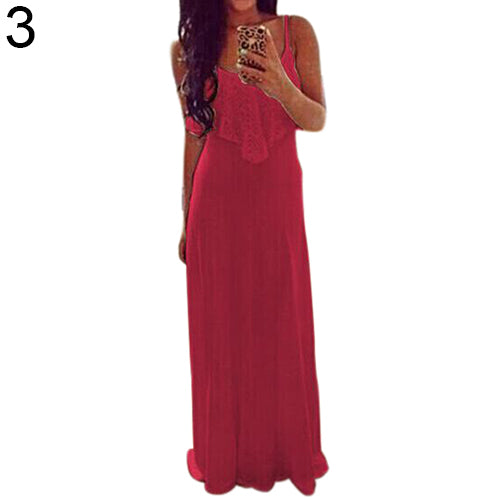 MilkySkinForever Women's Sexy Casual Lace Patchwork Spaghetti Strap Long Beach Dress Maxi Dress