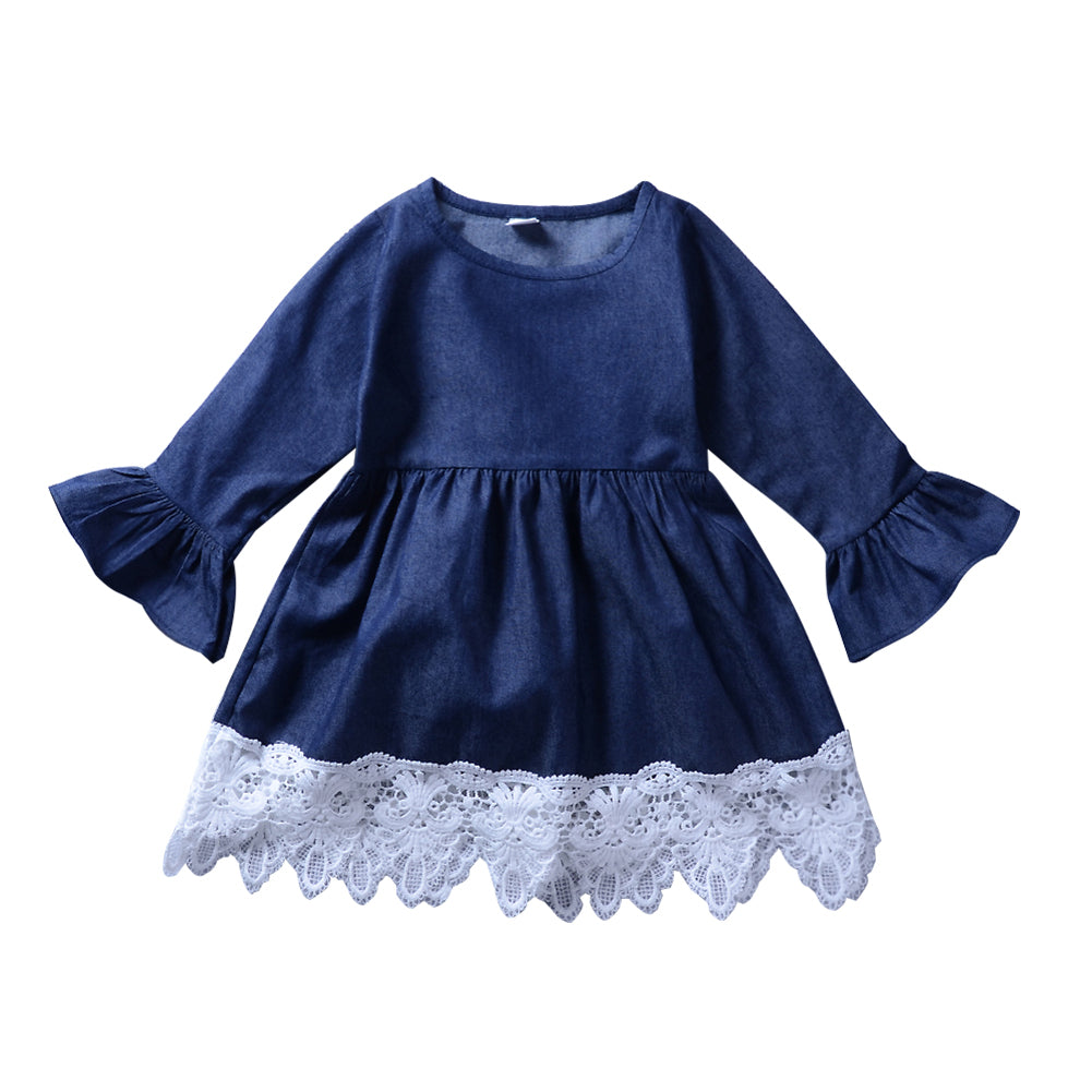 MilkySkinForever Fashion Baby Kids Girl Lace Skirt Long Flare Sleeve One-piece Party Dress Gift