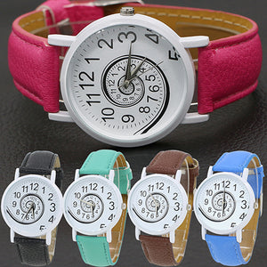 MilkySkinForever Women's Snail Dial Faux Leather Band Casual Gift Analog Quartz Wrist Watch