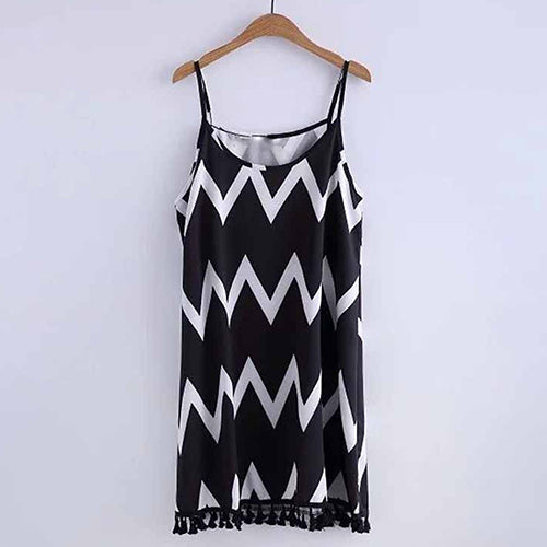 MilkySkinForever Women's Summer Loose Short Wave Backless Dress Tassel Beach Sexy Sling Dress