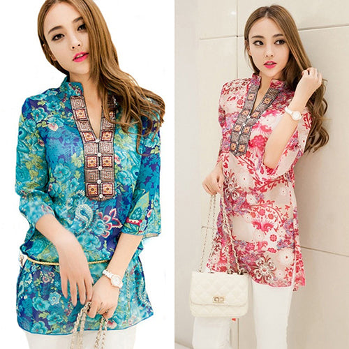 Women's Fashion Summer Korean Style Ethnic Loose Chiffon Blouse T-shirt