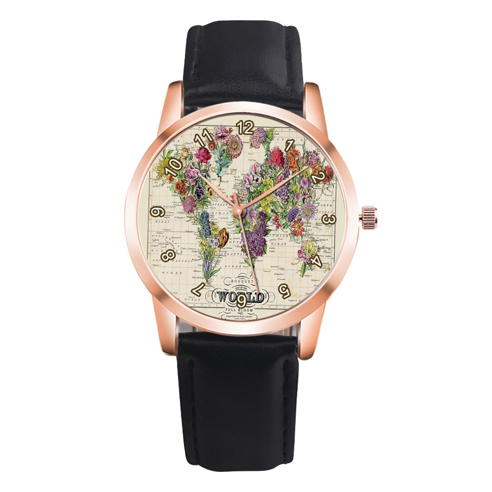 MilkySkinForever Vintage Flower Grass Map Watch Analog Display Kids Children Quartz Wrist Watch