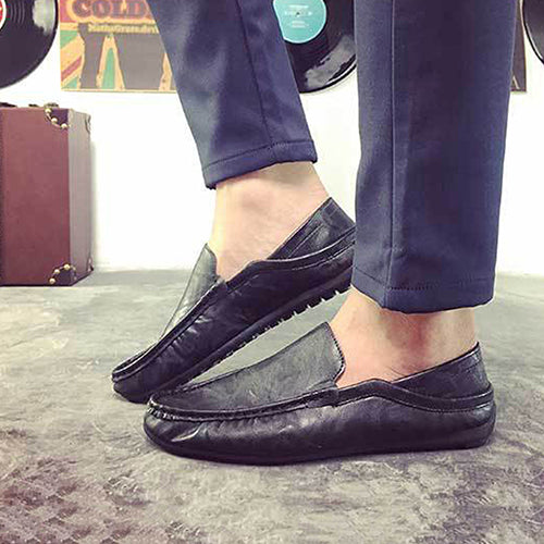 MilkySkinForever Men's Fashion Spring Autumn Faux Leather Slip-On Flat Breathable Casual Shoes