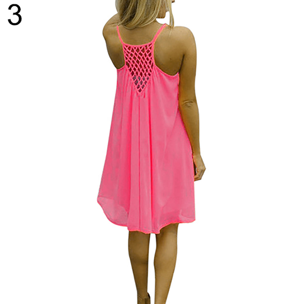 MilkySkinForever Sexy Women's Summer Casual Sleeveless Strap Backless Beach Dress for Evening Party
