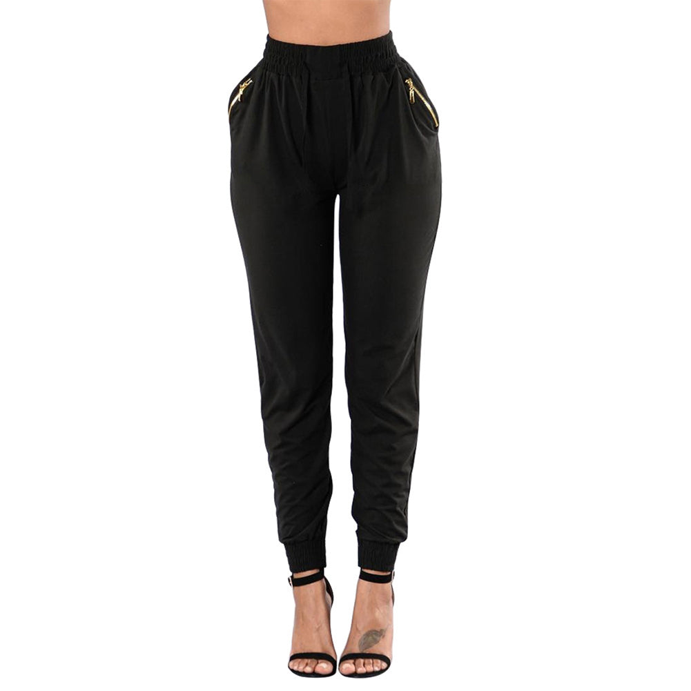 MilkySkinForever Women's Fashion Baggy Dance Sport Sweat Pants Zipper Pockets Drawstring Trousers