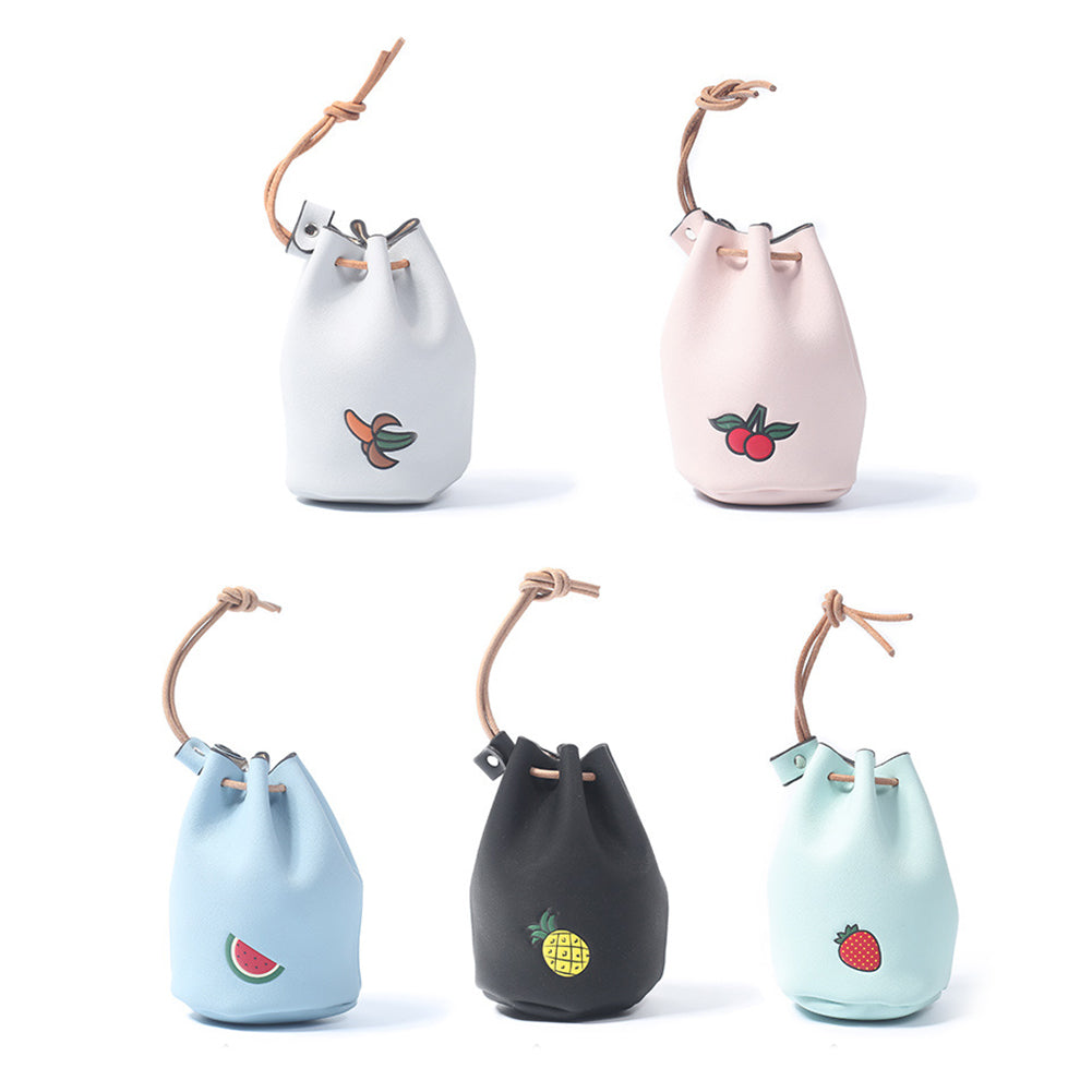 MilkySkinForever Mini Faux Leather Cartoon Fruit Coin Purse Key Drawstring Storage Bag Purse