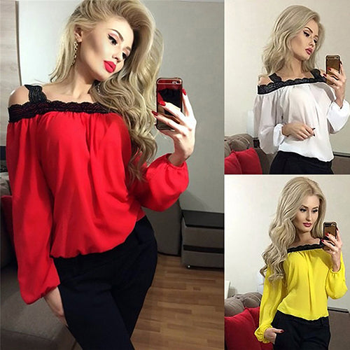 MilkySkinForever Women's Sexy Off Shoulder Long Sleeve T-shirt Lace Splicing Loose Chiffon Blouse