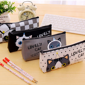 MilkySkinForever Cute Cartoon Cat Pencil Bag Waterproof Makeup Pouch Case Kids School Supplies