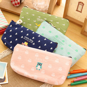 MilkySkinForever Students Pen Pencil Case Canvas Bag Cosmetic Makeup Pouch Coin Purse Stationery