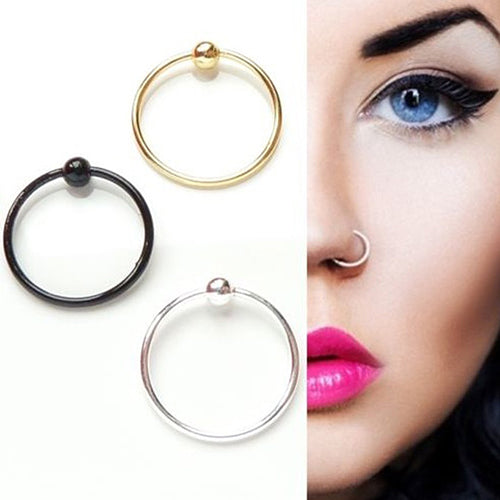 2Pcs Stainless Steel Plain Ball Nose Cartilage Tragus Rings Hoop Body Jewelry