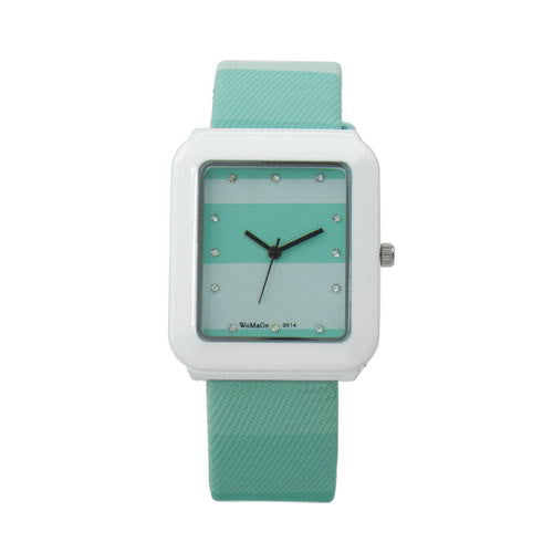 MilkySkinForever Fashion Quartz Rhinestone Inlaid Women's Wrist Watch Faux Leather Band Watch
