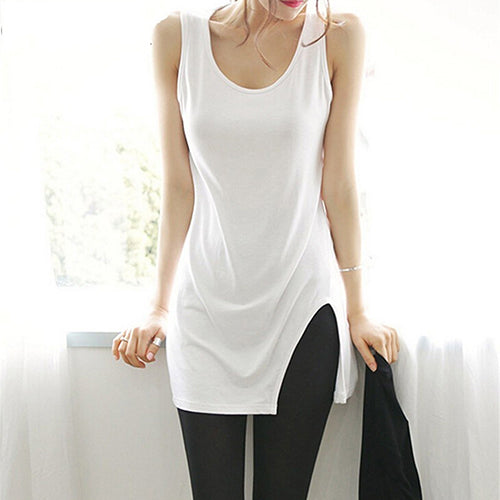 MilkySkinForever Women's Summer Long Camisole Fashion Tank Top Roun Neck Sleeveless T-shirt