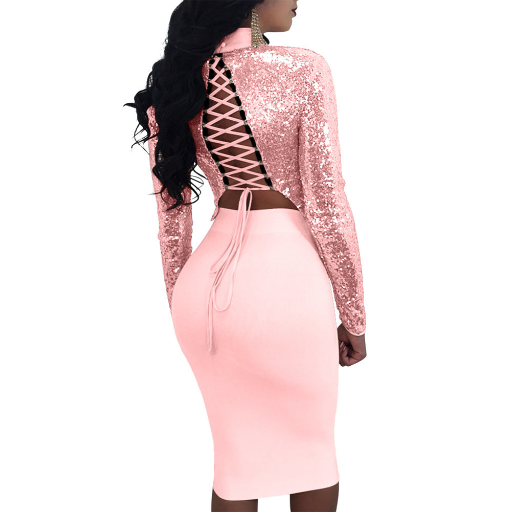 MilkySkinForever Fashion Long Sleeve Bodycon Sexy Evening Cocktail Paillette Bandage Skirt Set